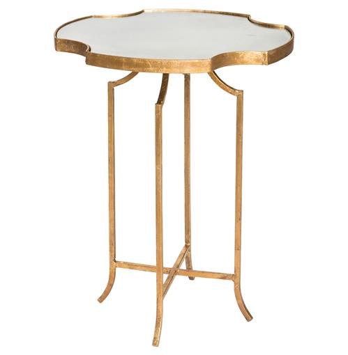 Gillian Hollywood Notched Antique Mirror Gold Side Table | Kathy Kuo Home
