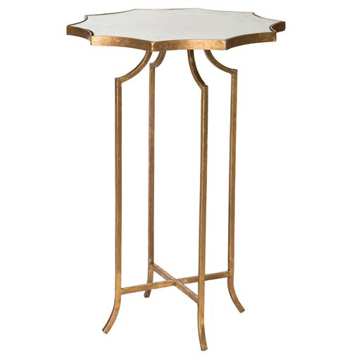 Giusti Hollywood Star Gold Leaf Antique Mirror End Table | Kathy Kuo Home