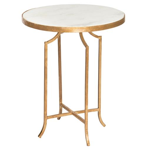 Fiji Hollywood Regency Gold Leaf White Marble End Table | Kathy Kuo Home