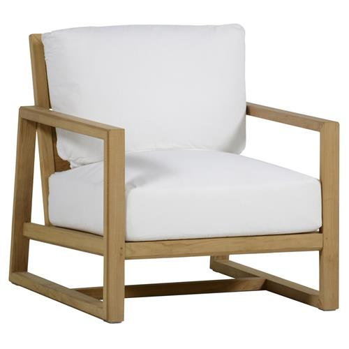 Summer Classics Avondale Modern Brown Teak White Cushion Outdoor Lounge Chair | Kathy Kuo Home