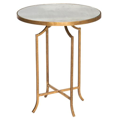 Fiji Hollywood Regency Gold Leaf Antique Mirror End Table | Kathy Kuo Home