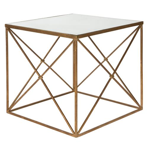 Furano Gold Hollywood Regency Antique Mirror Cube Side Table | Kathy Kuo Home