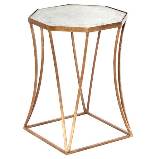 Cuadrado Hollywood Regency Antique Mirror Side Table | Kathy Kuo Home