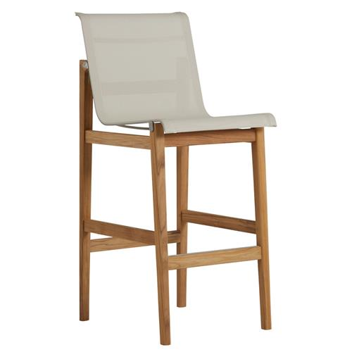 Summer Classics Coast Teak Sling Canvas Brown Outdoor Bar Stool | Kathy Kuo Home
