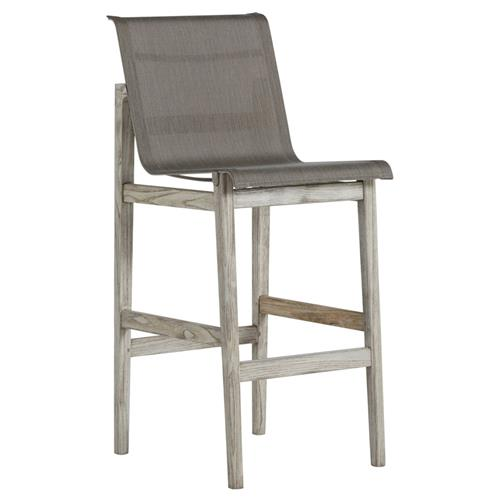 Summer Classics Coast Teak Sling Oyster Grey Outdoor Bar Stool | Kathy Kuo Home