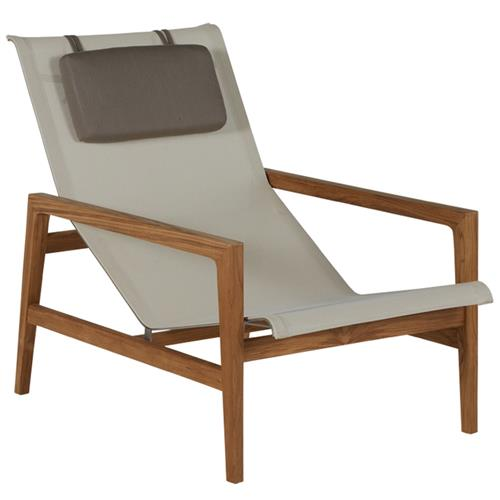 Summer Classics Coast Teak Sling Canvas Brown Outdoor Lounge Chair | Kathy Kuo Home