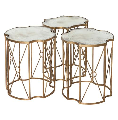 Marlene Hollywood Antique Mirror Bunching Side Tables - Set of 3 | Kathy Kuo Home