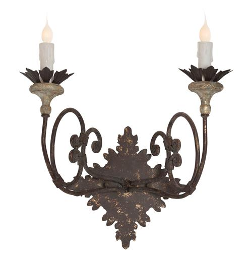 Nimes French Country Curled Iron 2 Light Wall Sconce | Kathy Kuo Home