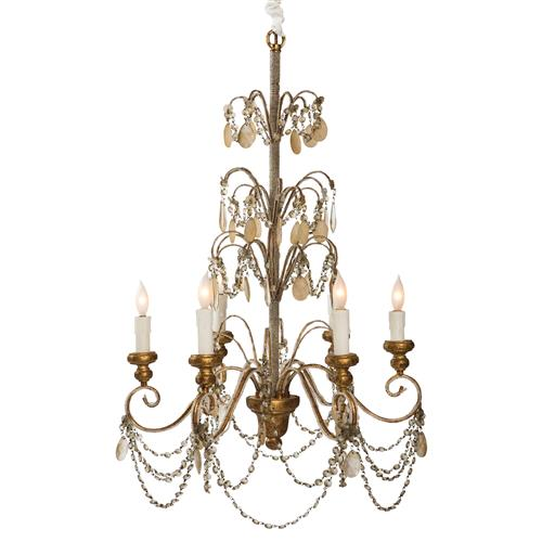 Villa Lantre Hollywood Regency Antique Gold Beaded Chandelier | Kathy Kuo Home