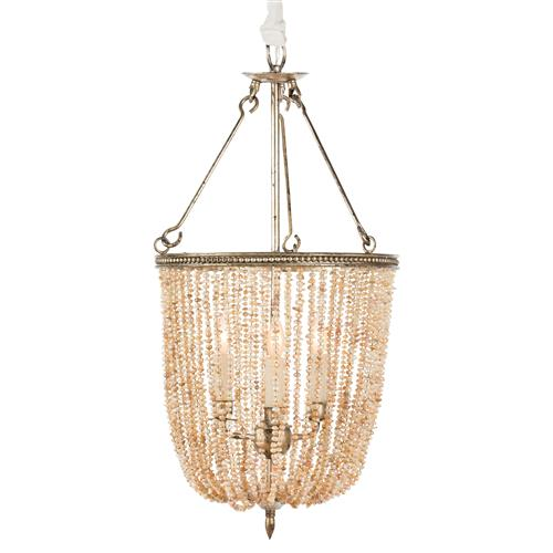 Regina Coastal Style Pink Pearls 4 Light Basket Chandelier | Kathy Kuo Home