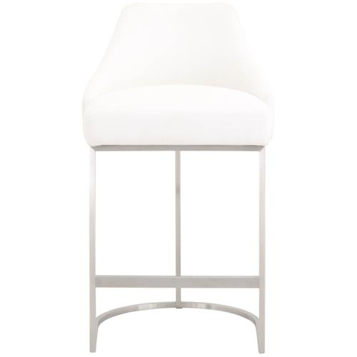 Amir Modern Classic White Performance Stainless Steel Base Counter Stool - Set of 2 | Kathy Kuo Home