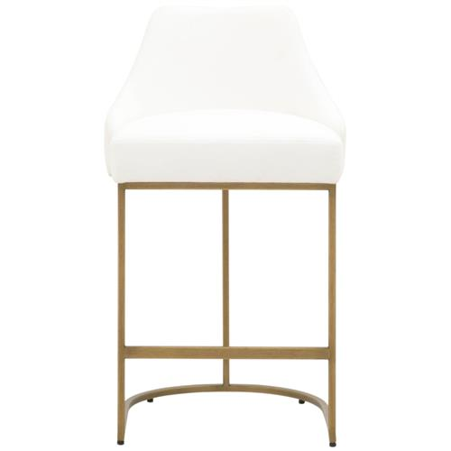 Amir Modern Classic White Performance Gold Metal Base Counter Stool - Set of 2 | Kathy Kuo Home
