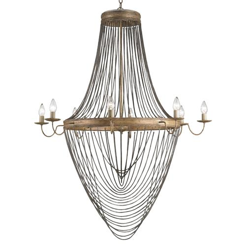 Bacall Hollywood Regency Drop Chain 8 Light Gold Leaf Chandelier | Kathy Kuo Home