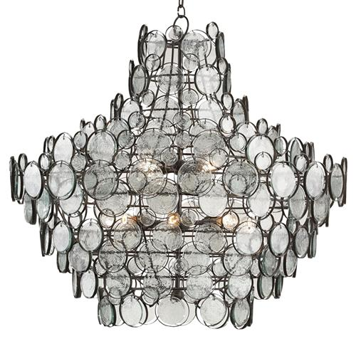 Iona Coastal Style Recycled Glass Medallion Iron 12 Light Chandelier | Kathy Kuo Home
