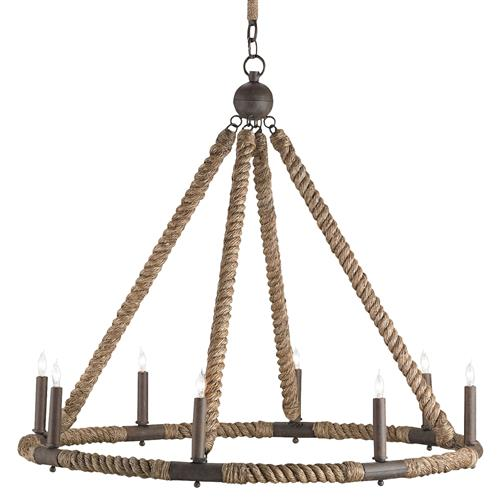 Seafarer Nautical Beach Style Wrapped Rope 8 Light Chandelier | Kathy Kuo Home