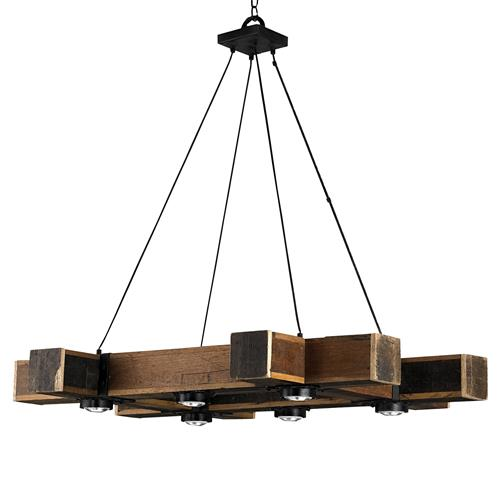 Boondocks Rustic Lodge Chunky Wood 6 Light Chandelier | Kathy Kuo Home