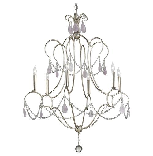 Bellamere Hollywood Regency Amethyst Rock Crystal Silver 6 Light Chandelier | Kathy Kuo Home