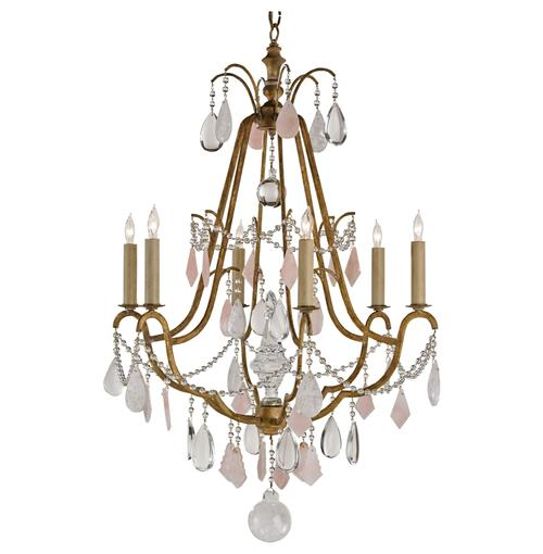 Loren Hollywood Regency Antique Brass Crystal 6 Light Chandelier | Kathy Kuo Home