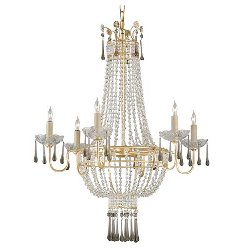 Raines Hollywood Regency Gold Crystal Romantic 6 Light Chandelier | Kathy Kuo Home