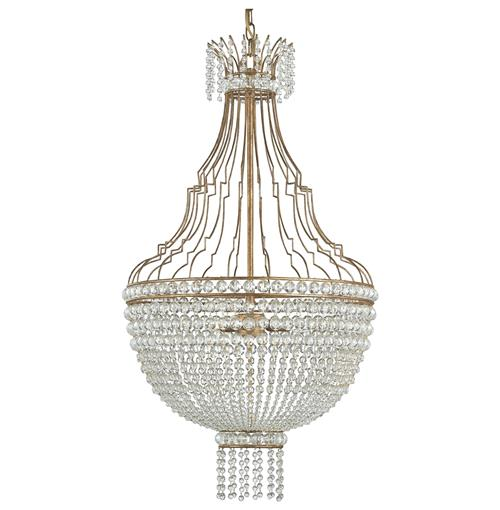 Oberon Hollywood Regency Gold Crystal Teardrop 3 Light Chandelier | Kathy Kuo Home