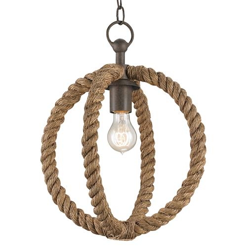 Seafarer Nautical Beach Style Wrapped Rope Pendant | Kathy Kuo Home