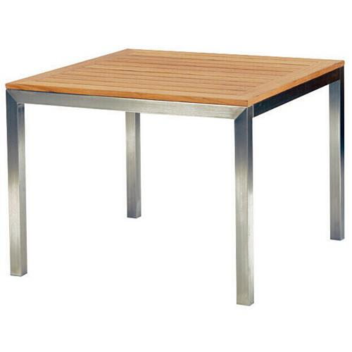 Kingsley Bate Tiburon Modern Teak Stainless Steel Square Outdoor Dining Table | Kathy Kuo Home