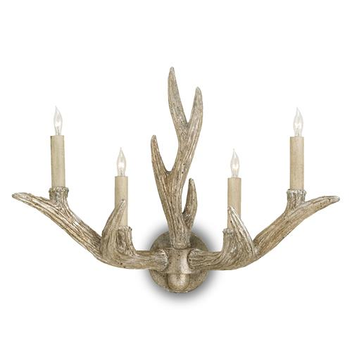 Casteret Rustic Lodge Antique Silver Antler 4 Light Wall Sconce Kathy Kuo Home
