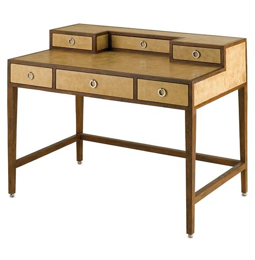 Balamor Hollywood Regency Reclaimed Wood Antique Parchment Desk | Kathy Kuo Home