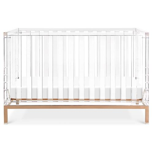 Nursery Works Luma Modern Classic Clear Acrylic Gold Base Convertible Crib | Kathy Kuo Home