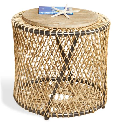 Saranda Beach Style Wood Rope Round End Side Table | Kathy Kuo Home