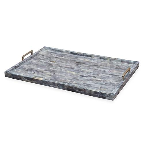 Interlude Interlude Riika Global Bazaar Blue Bone Serving Tray | Kathy Kuo Home