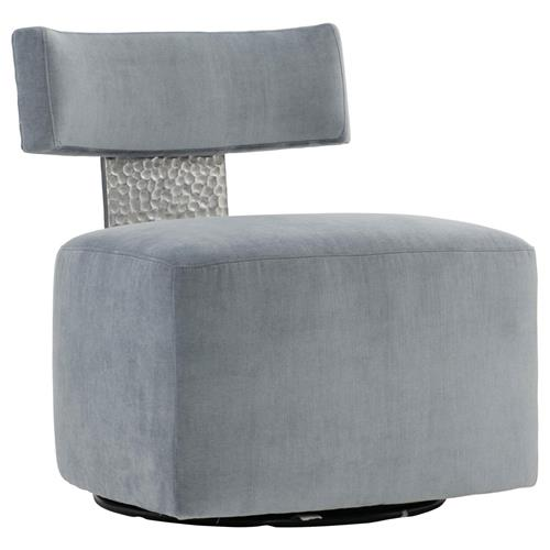 Elsie Modern Classic Grey Upholstered Stainless Steel Accent Swivel Chair | Kathy Kuo Home