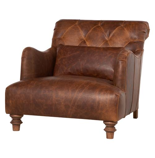 Acacia British Industrial Rustic Leather Large Accent Chair | Kathy Kuo Home