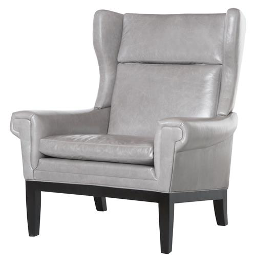 Lyto Mid Century Wing Back Masculine Grey Leather Accent Chair | Kathy Kuo Home