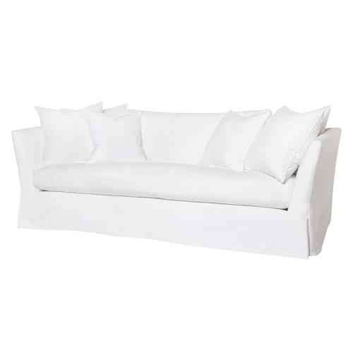 Seda Denim White Cotton Coastal Style Feather Down Slip Cover Sofa - 84 | Kathy Kuo Home