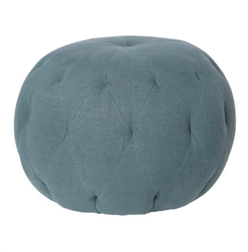 Cisco Brothers Lana Global Bazaar Firm Denim Blue Linen Round Ottoman - 26 Inch | Kathy Kuo Home