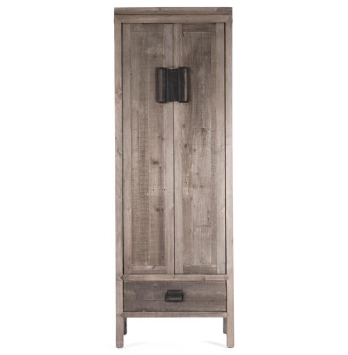 Ming Reclaimed Oak Industrial Asian Inspired Tall Cabinet | Kathy Kuo Home