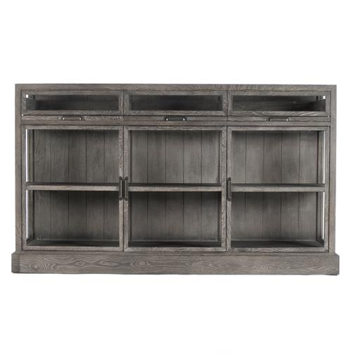 Hazel Creek Industrial Loft Grey Oak Display Media Wall Cabinet | Kathy Kuo Home
