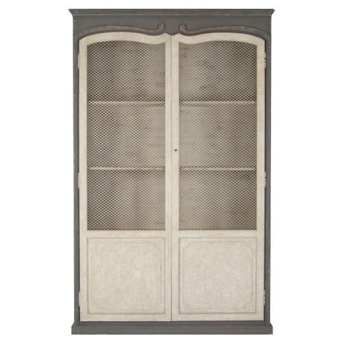 Dorsey Putty White French Country Grey Mesh Tall Cabinet | Kathy Kuo Home