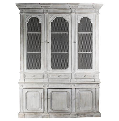 Heritage Antique White Mesh Front French Style Grand Display Cabinet | Kathy Kuo Home