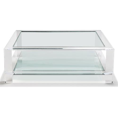 Interlude Surrey Modern Glass Top Acrylic Square Coffee Table - Small | Kathy Kuo Home