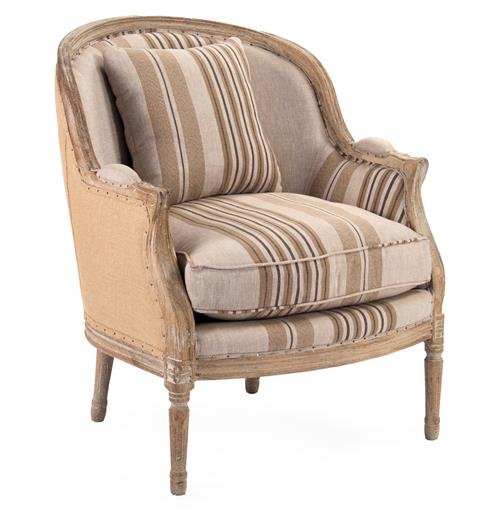 Raymond French Country Burlap Brown Stripe Club Chair | Kathy Kuo Home