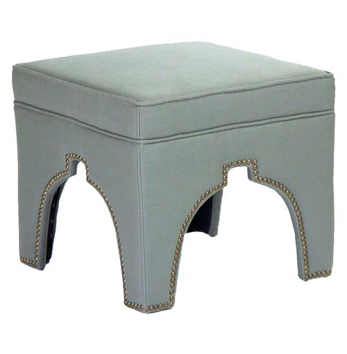 Stella Sage Green Linen Hollywood Regency Nail Head Ottoman Stool | Kathy Kuo Home