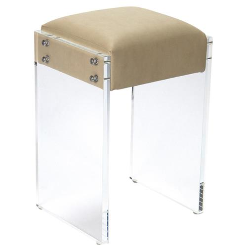 Modern Hollywood Regency Beige Faux Leather Acrylic Vanity Counter Stool | Kathy Kuo Home