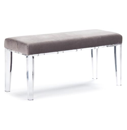 Tatiana Hollywood Regency Deco Acrylic Grey Velvet Vanity Bench | Kathy Kuo Home