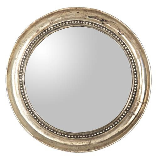 Julian Antique Gold Champagne Small Round Convex Mirror - 10.25D | Kathy Kuo Home