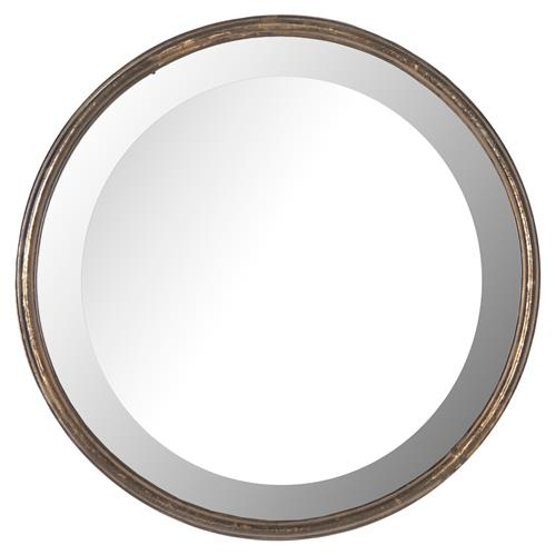 Libby Hollywood Regency Thin Frame Antique Bronze Round Mirror - 14 Inch - 14D | Kathy Kuo Home
