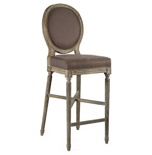 Medallion Oak French Country Bar Stool in Aubergine Brown Linen | Kathy Kuo Home