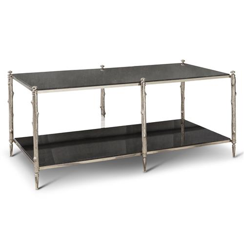 Spring Lake Global Twig Black Marble Silver Coffee Table | Kathy Kuo Home