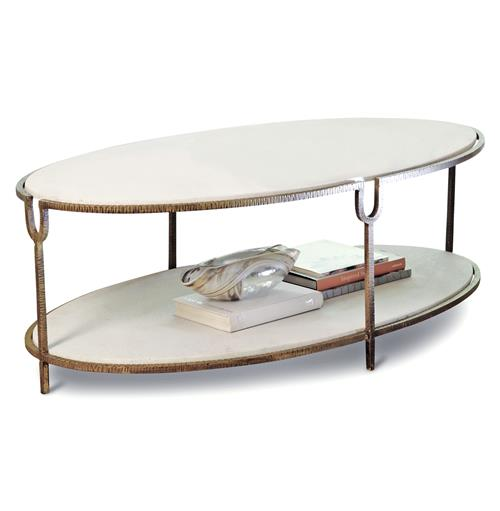 Katherine Hollywood Regency Ivory Stone Oval Coffee Table | Kathy Kuo Home